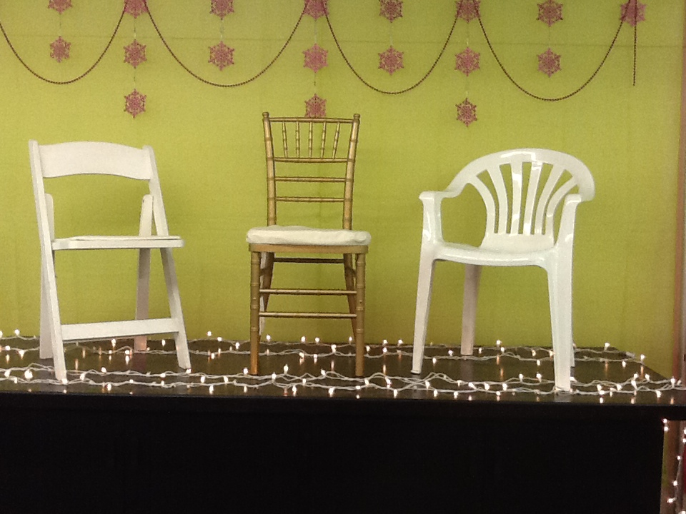 WHITE WOOD, GOLD CHIAVARI & WHITE STACKABLE CHAIR