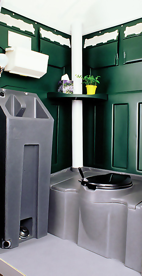 LUXURY PORTABLE RESTROOM WITH HAND WASHING - INSIDE VIEW