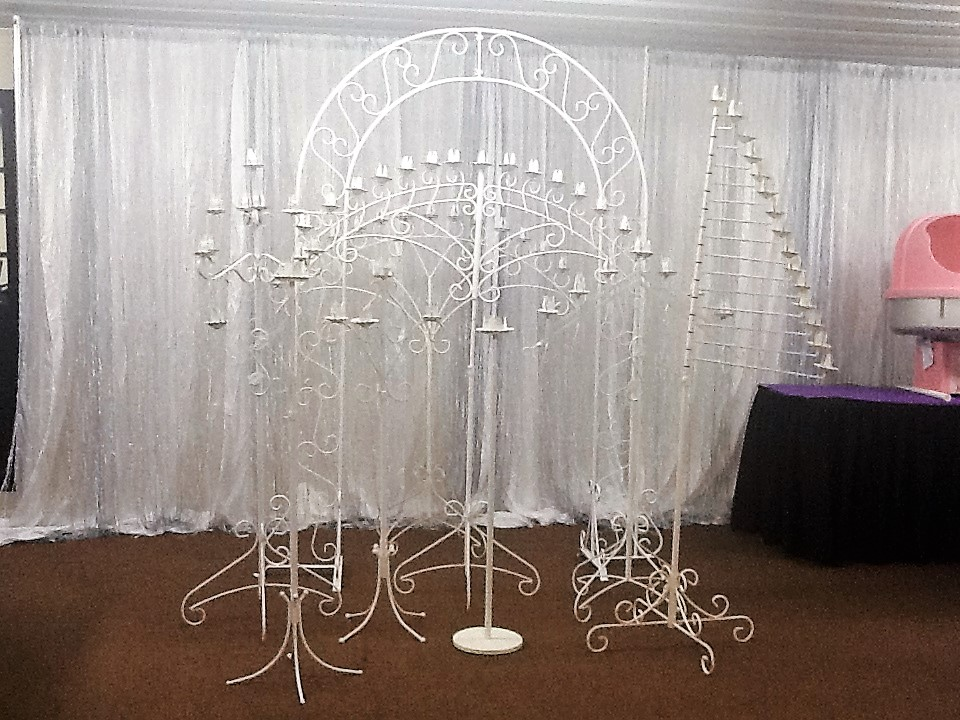 All White Candelabras and Arches Available